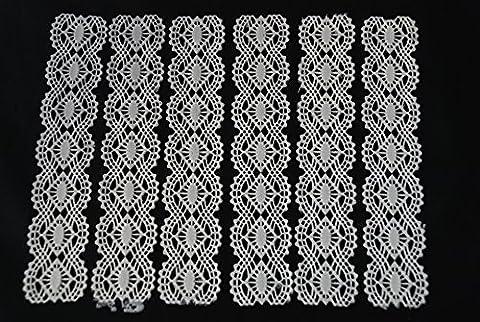 White Edible SUGAR LACE Cake Ribbon 6x Strips 1.25''x6.25'' (3cmx16cm) Handmade by IcingCakeTopper