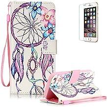 Funyye - Funda de piel de diseño elegante, modelo con flor de loto de colores, soporte a modo de libro, tipo cartera, con película protectora para iPhone 5/5S y iPhone SE Color-02 iphone 5/5S/SE