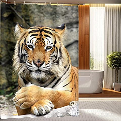 100% Polyester Shower Curtain Tiger Rest Gaze Digital Printing Pattern Opaque Waterproof For Home Bathroom Decoration With Enough Rings Hooks , 150 x 180 cm