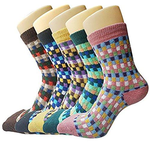 Justay Damen Vintage Style Baumwolle Stricken Wolle warm Winter Fall Crew Socken, gemischte Farbe 4, 5Stück -