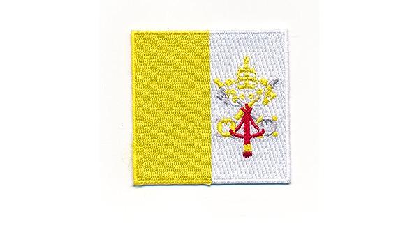 60 X 60 Mm Rom Vatikanstadt Bibel Papst Kirche Flagge Aufnäher Aufbügler 0976 D Auto