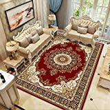 GCC Im Europäischen Stil Teppich-Wohnzimmercouch Tisch Teppich Schlafzimmer Bett Garderobe Küche Esszimmer Teppich Baby Crawling Matte, Rot,03,160×200Cm