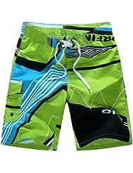 PZLL Pantalones verano playa impresión hombre, hombres sueltos pantalones, hombres surf y patios de secado rápido, shorts , green , xxl