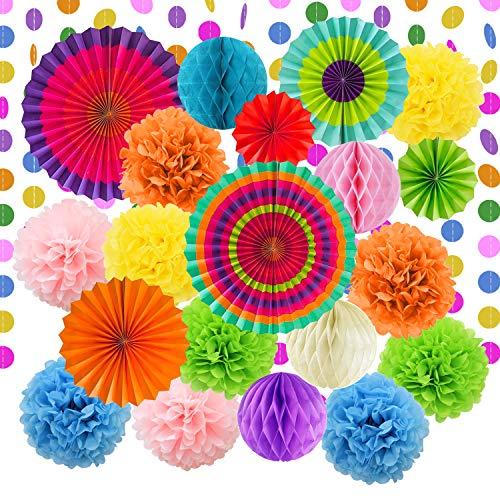 denpapier Blumen Pompoms Set, Wabenbälle Lampions Laternen Fächer Girlande Dekoration, für Geburtstag Hochzeit Baby Dusche Parteien Hauptdekorationen ()