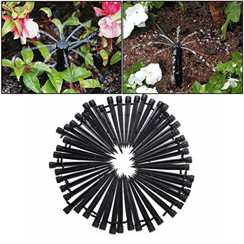 king do way 50 Stück Einstellbarer Bewässerungs-Tropfer Micro Flow Dripper, 360 Grad verstellbar, Mit 8 Löchern, Bewässerungs-Set für Pflanzen