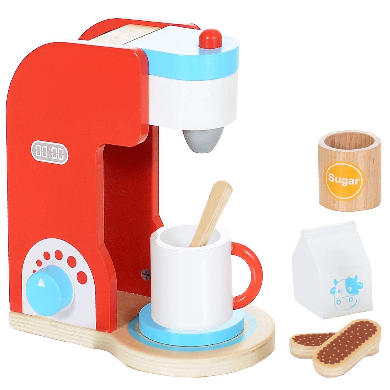 Macchina da caffè Set 8 Pezzi in Legno da Giocattolo per Bambini ...