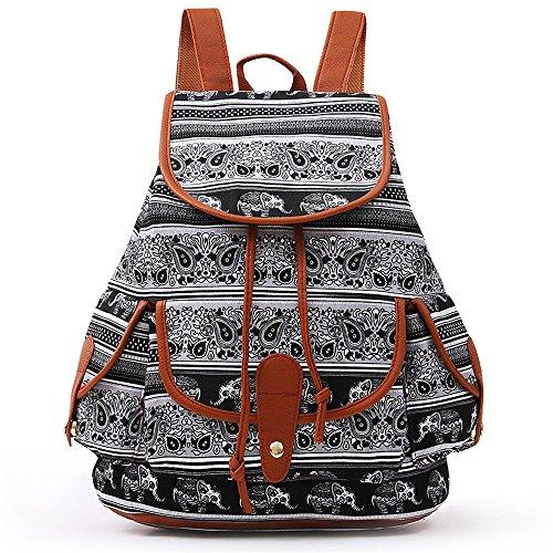Malloom® Frauen Vintage Leinentasche National Wind Rucksack Reisetasche Schultasche Retro-Folk-Stil Flip Canvas Tasche Rucksack (D) -