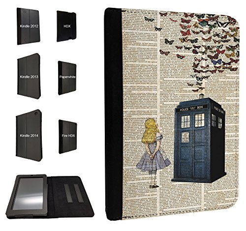 Preisvergleich Produktbild '477 – Vintage news Alice in Wonderland Doctor Who Tardis Call Box Butterflies Design Amazon Kindle Fire 2013 HD 7 2 nd Generation Schutzhülle Purse Wallet Pouch Tasche Schutzhülle Case Flip cover-tpu Leather