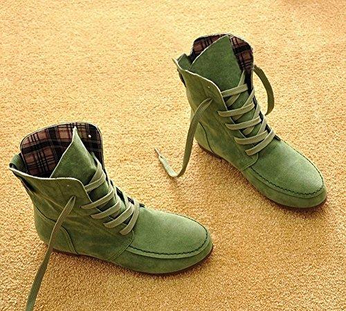 Nvh Femmes Hiver Bottes Chaussures Plates Femme Dentelle Martin Étudiant Chaussures Grandes Femmes Chaussures Bottes Uniques Vert