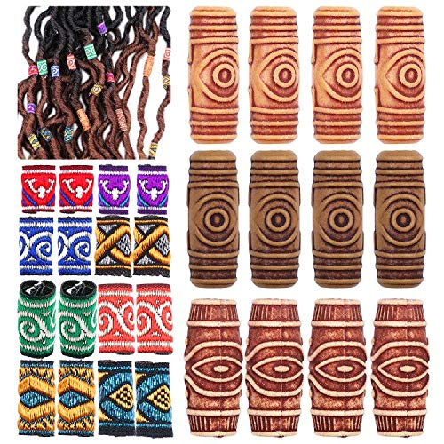 28 pezzi Lychee tessuto Dreadlock perline intrecciatura decorazione fai da te accessori barile perline branelli allentati moda nuovo stile hip-hop