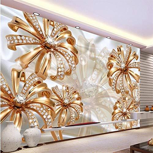 Lxsart Benutzerdefinierte Tapete 3D Wandbild European Court Gold Diamant Blume Schmuck TV Hintergrund Tapete-400cmx280cm