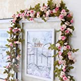 Brown Leaf® Artificial Silk Rose Flowers Vine Garland Fake Ivy Arch Hanging Home Wedding Decor Wall Rattan Plants Leaves Deco