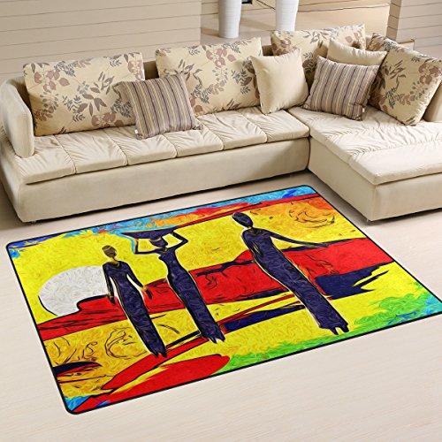 vinlin Welcome Matte Watercolor afrikanischen Frauen saugfähig Rutschfeste Langlebig Fußmatte Maschinenwaschbar Eingangsmatte für Innen und Außen, Polyester, 60 x 39 inch