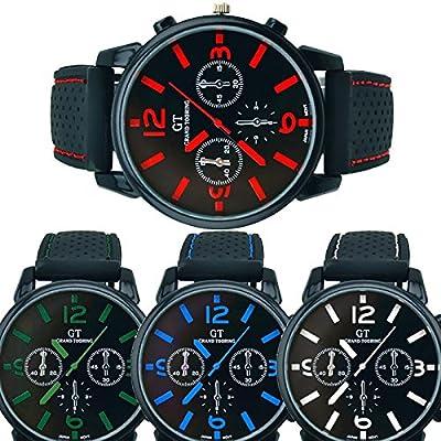 Clearance LuckUK Men's Watches,Man Sport Quartz Wrist Watch Military Dial Stainless Steel Wrist Watch Wrist Sport Rubber Band for Mens