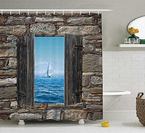 House Decor Shower Curtain Set, Image of A Sailing Boat from Stone Window Narrow Perspective Idyllic Mediterranean Print, Bathroom Accessories, 60x72 inches, Grey Blue