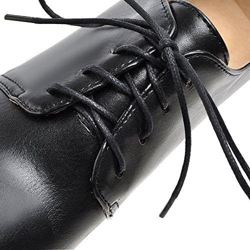 Damen Schuhe Schwarz Absatz Pumps Rein Schnüren Hoher Voguezone009 Material Weiches HdxwCgz8q