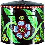 Aretha Banarasi Circular Wooden Box With Lid (Brown)