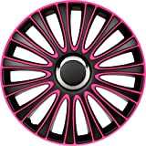 ASD TECH PP 5135P Pack de 4 Enjoliveurs Design Lemans 15'' Noir/Rose