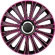 Autostyle PP 5134P Pack de 4 Enjoliveurs Design Lemans 14'' Noir/Rose