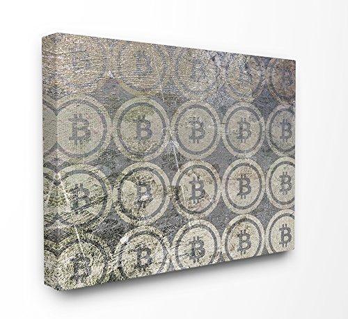 Die Stupell Home Decor Kollektion Bitcoin Muster auf Oberfläche gedehnt Wand Kunst, 16x 1,5x 20, Stolz Made in USA, Leinwand, Multi, 40,64x 3,81x 50,8cm