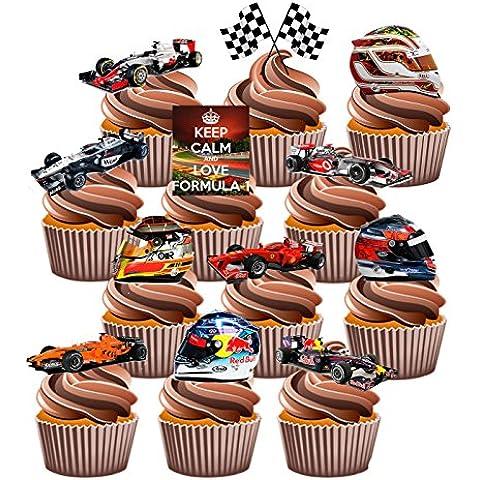 Topper per cupcake edibili, motivo: Formula 1, confezione da 36 pezzi