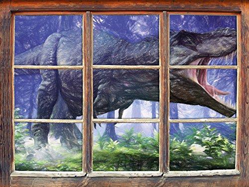 T-Rex Dinosaurier im Wald Kunst Buntstift Effekt Fenster im 3D-Look, Wand- oder Türaufkleber...