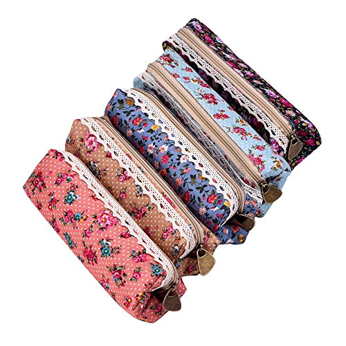 eBoot Estuches de Lápices de Lona Bolsas de Cosméticos con Cremallera y Patrón de Flores, 7 Pulgadas, Juego de 5