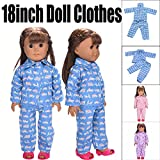 Doll Clothes, SHOBDW Hot! 2PCS Cute Cartoon Floral Stars Pajamas Sets Nightgown for 18 inch Our Generation American Girl Gifts Doll Clothes (Excluding Dolls)