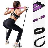 barra con fascia elastica per i piedi, barra da palestra portatile per pilates, yoga, esercizi, fitness, Set di Elastici di