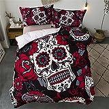 CHAOSE 3D Schädel Rot und Schwarz Bettwäsche Set,Superweiche Polyester-Baumwolle,3-teilig (1 Bettbezug + 2 Kissenbezüge 48x74cm) (Rot, King Size(220x240CM 2M Breites Bett))