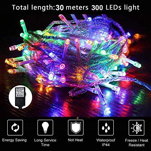 Guirlandes Lumineuses 30M 300 LED Etanche IP44 Lumières Extérieur de Noël Décoration avec 8 Modes d'éclairage Idéal pour Soirée Fête Jardin mariage Terrasse Pelouse Cour etc (Multicolore, 30M/300LED)