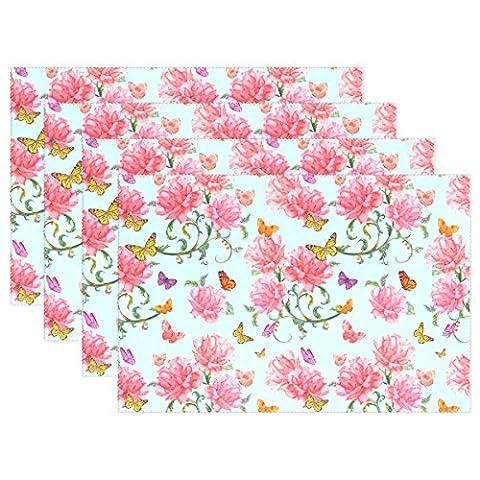 Fleurs et papillons Imprimé Sets de table, sets de table Coosun résistant à la chaleur résistant aux taches anti-dérapant Sets de table en polyester Lavable antidérapant facile à nettoyer Sets de table, 30,5x 45,7cm, Lot de 4, Polyester, multicoloured, 12x18x1 in