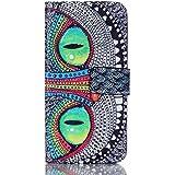 Protection Pour Galaxy A5 (2016) - Portefeuille Rabat Étui Coque pour Samsung Galaxy A5 (2016) SM-A510F Cuir Etui Case Protection avec Support Fonction et Carte Pochette - Yeux verts