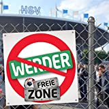 Bremer FREIE-Zone | XXL-Aufkleber 3er-Set | Schützt HSV-, St.Pauli- & Fußball-Fans vor Werder & Bremen infizierten | Einfach mehr Spaß im Alltag | Warnschild - Türschild - Öffnungszeitenschild