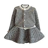 Kobay Kleinkind Kinder Baby Mädchen Outfit Kleidung Plaid Gestrickte Pullover Mantel Tops + Rock Set (13/5-6Jahr, Schwarz)