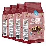 Marchio Amazon - Happy Belly - Mix di mirtilli rossi, cioccolato e frutta secca , 4x200g