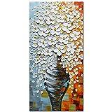 Asdam Art-Elegante flor blanca pinturas al óleo sobre lienzo 100% pintado a mano pared arte estirada y...