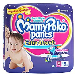 MamyPoko Pants Medium Size Diapers (15 Count)