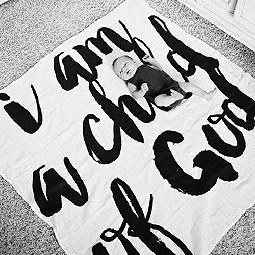 Milestone Decke für Neugeborene, Baby Geburtstag Fotografie Foto Requisiten Wickeldecke, Baby Monatliche Milestone Fotografie Requisiten Shoots Hintergrund Tuch 100 x 100 cm (Set A :Child of God)