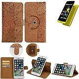 K-S-Trade Schutz Hülle für Archos 50 Diamond Handyhülle Kork Handy Tasche Korkhülle Schutzhülle Handytasche Wallet Case Walletcase Flip Cover Smartphone