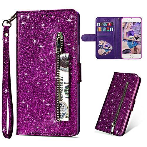 asche Hülle für iPhone 6/6S,Luxus Bling Glänzend PU Leder Flip Hülle mit Halter Kreditkarte Slots Ultra Dünn Weich Silikon Hülle für iPhone 6/6S,Lila ()