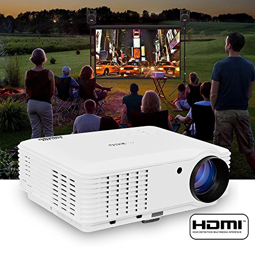Portable Projector 3500 Lumens LED LCD 1080P for Movie Video Games Home Entertainment Widescreen Presentation iPhone TV Mac DVD Laptop with Keystone Built-in Speaker