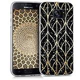 kwmobile Coque Samsung Galaxy S7 - Coque pour Samsung Galaxy S7 - Housse de téléphone en Silicone doré-Noir