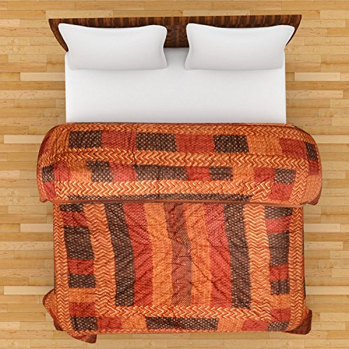 Mahima Furnishing Jaipuri World Famous Light Weight Pure Cotton Gold Print Multi Colour Reversible Double Bed Quilt /Rajai / Razai .