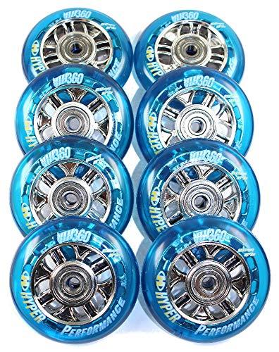 HYPER 4er/8er NX-360 Speed-Rollen Set 80mm - 84a Salomon Rollerblade Skate nur Rollen oder Inlinerrollen fertig montiert - incl. Rollen + Kugellager+Spacer 8mm (8er Set Rollen+Lager+Spacer)