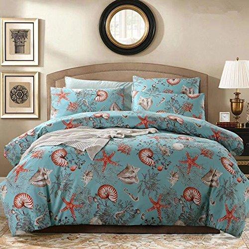 HNNSI 3Stück Betten Sets Full Queen King Größe (1Bettbezug + 2Kissenbezüge), Blue Ocean Seestern Conch/Tröster, Bettbezug Sets Full Blau (Blatt Tröster Set Full)