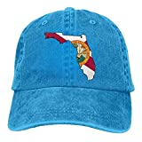 longkouishilong Hüte,Kappen Mützen 2018 Adult Fashion Cotton Denim Baseball Cap Abstract Florida State Map with Flag Classic Dad Hat Adjustable Plain Cap