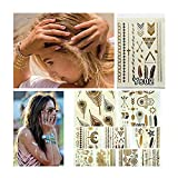 Samtaiker 10 Bow Premium Temporary Metallic Tattoos for Sticking Hippie Temporary Tattoos in Gold Silver by Joy Avenue