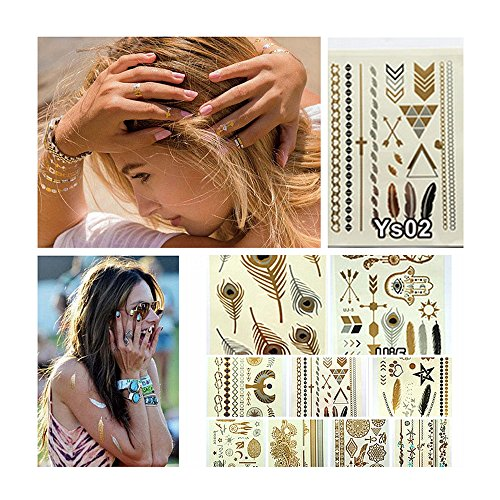 Samtaiker 10 Bogen Premium Temporäre Metallic-Tattoos zum Aufkleben Hippie Temporary Tattoos in Gold Silber von Joy (Hippie Make Up)
