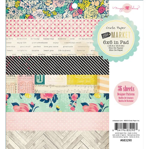 "American Crafts Crate Paper Pad 6 ""x 6"" 3Flea mercato"